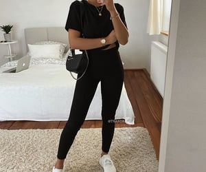 black, outfit, and tennis image