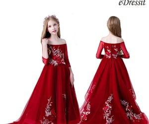 off-shoulder, long girl dress, and red kid's dress image