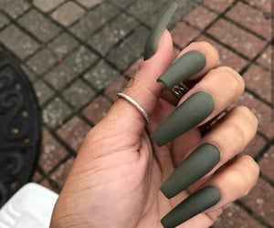 green nails, fall nails, and ombre nails image