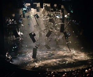 chairs, dark, and destruction image