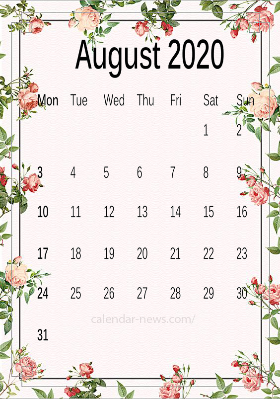 article, August, and printablecalendar image