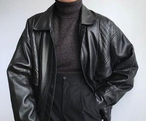 aesthetic, black, and leather jacket image