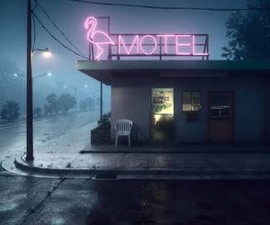 motel, night, and neon image