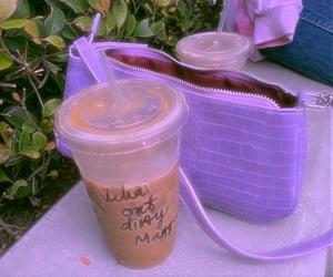iced coffee, purple vibes, and coffee image