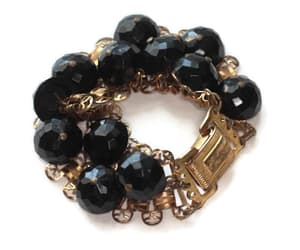 black and gold, bead bracelet, and black bead image