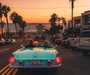 car, beach, and sunset image