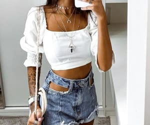 necklace, crop top, and summer outfit image