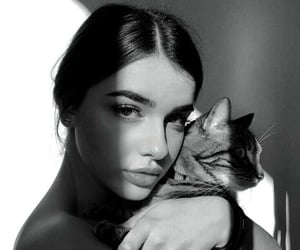 girl, black and white, and cat image