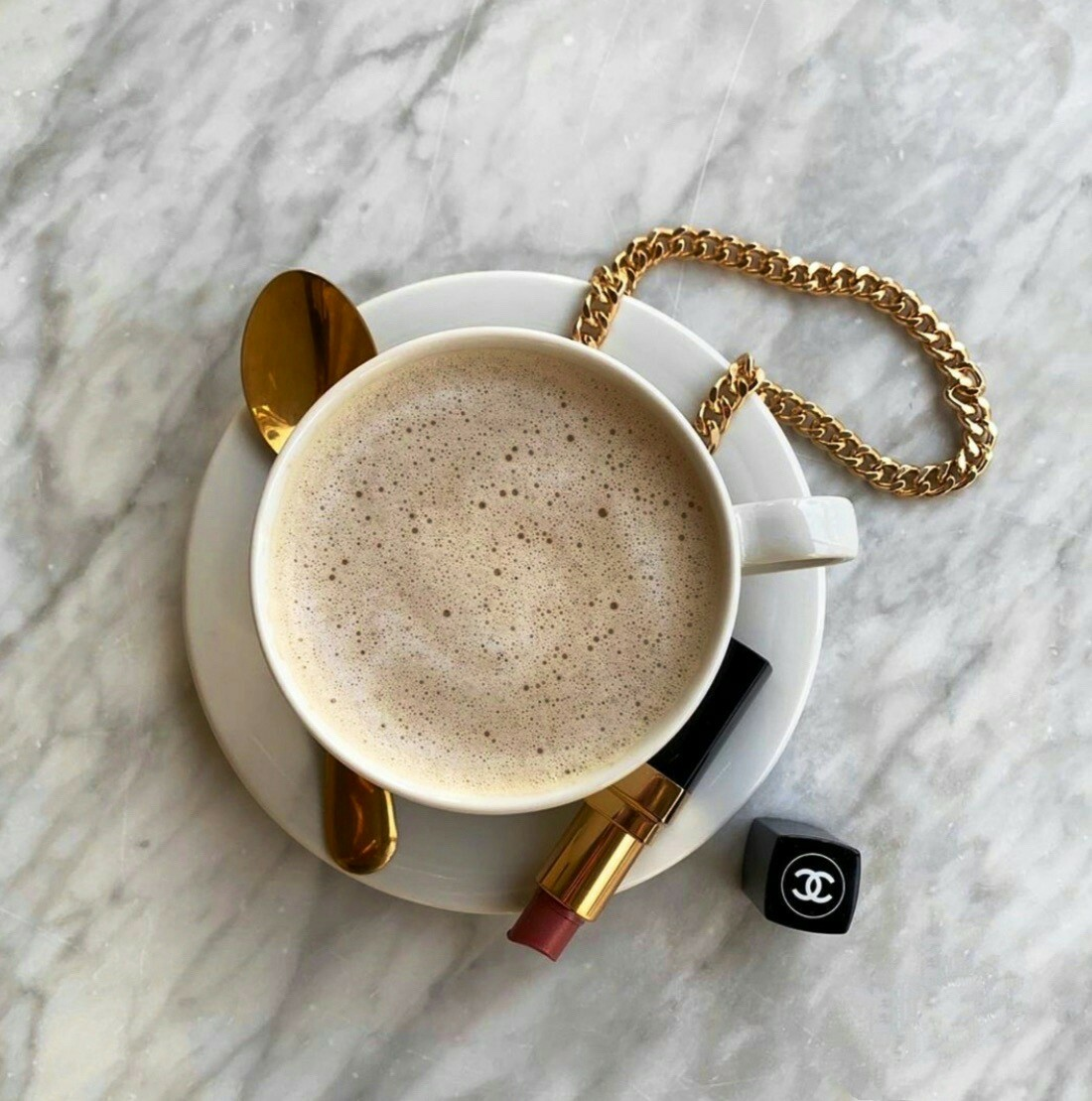 coffee, chanel, and gold image