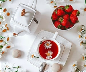 berries, sweets, and cup of tea image