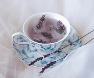 cup of tea, flowers, and lavender image