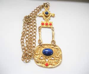 etsy, boho necklace, and gold tone pendant image