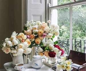flowers, aesthetic, and coffee image