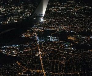 airplane, city, and night image