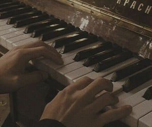 aesthetic, piano, and brown image