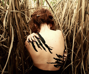 girl, paint, and black image