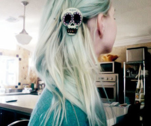 hair, girl, and skull image
