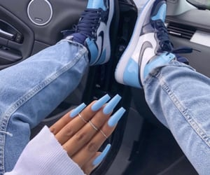 light blue, nails, and nike image