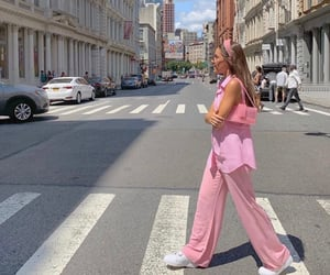 girl, pink, and city image