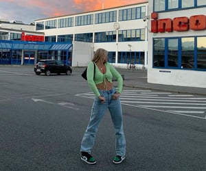 green cardigan, wide leg jeans, and fashion style mode image