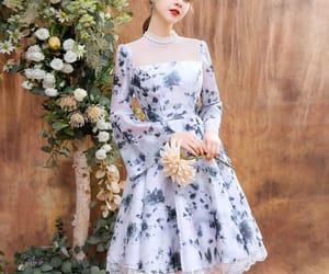 girl, floral dress, and homecoming dress image