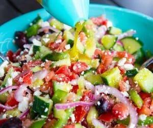 homemade, greek salad, and salad dressing image