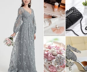 formal wear, long sleeves, and grey evening dress image