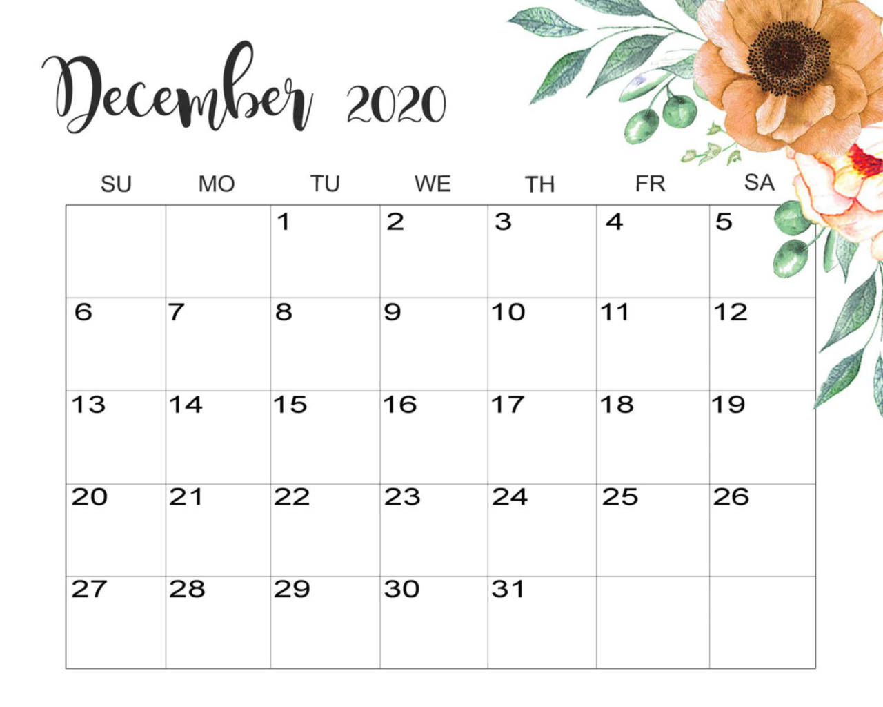 Cute December 2020 Calendar Desktop Wallpaper