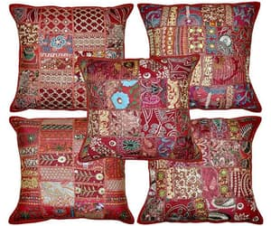 etsy, embroidered pillows, and patchwork cushion image