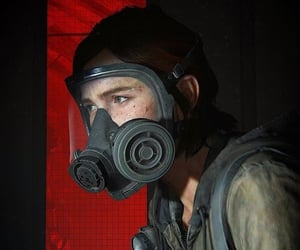 ellie williams, gas mask, and videogame image