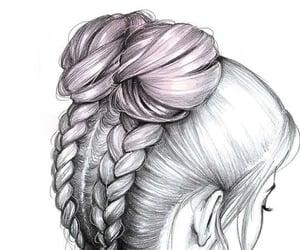 braids, bun, and sketch image
