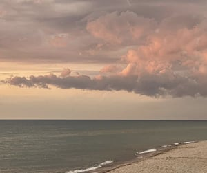 beach, clouds, and pink image