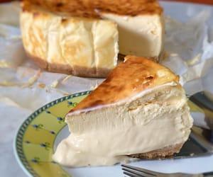 cake, dessert, and burnt cheesecake image