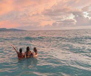 best friends, ocean, and summer image