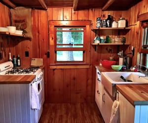 cabin, rustic, and kitchen image
