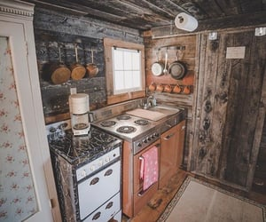 cabin, kitchen, and rustic image