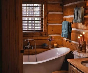 bathroom, cabin, and rustic image