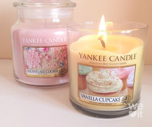 candle, pink, and yellow image
