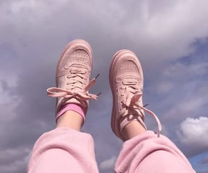 pink, shoes, and sky image
