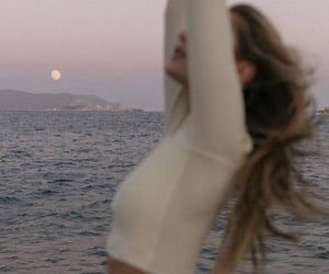 moon, girl, and sea image