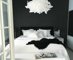 bedroom and black and white image