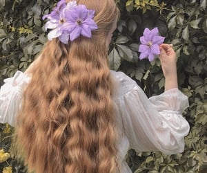 hair, flowers, and beauty image