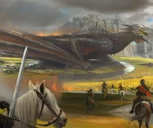 art, horses, and dragon image
