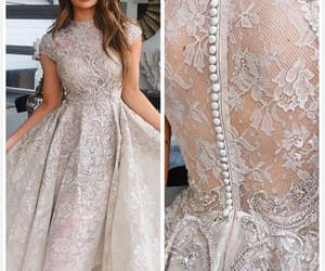 vintage prom dresses, lace prom dresses, and champagne prom dress image