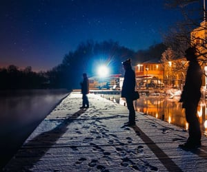 dock, night, and winter image