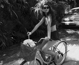 b&w, bike, and girl image