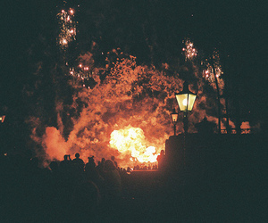fire, light, and vintage image