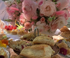 food, pink, and roses image