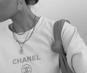 chanel, black and white, and pink image