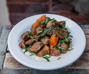 carrot, steak, and israeli food image